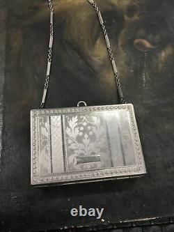 Antique Art Déco Silvertone Sac À Main Poudre Compacte Avec Poignée De Chaîne Détails Fins