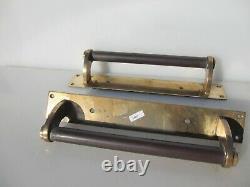 Antique Brass Door Handles Shop Tire Bronze Bank Vintage Old Art Déco 13h