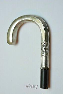 Antique Canne Allemande Bâton De Marche 800 Argent Art Déco Seulement Poignée