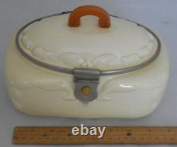 Antique Céramique Art Déco Cookie Jar Biscuit Barrel Butterscotch Bakelite Handle