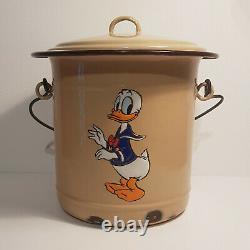 Antique Disney Donald Duck Enamel Seau De Chambre Pot Art Déco 1930 LID & Poignée