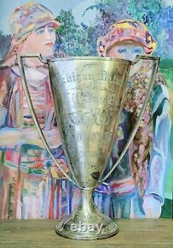 Antique Silver Plated Loving Cup Énorme Manipulé Trophée Des Années 1920 Silverplate Wallace