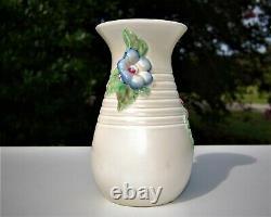 Antique Vintage Authentic Clarice Cliff Grand Vase À Fleurs Côtelé Et Manipulé