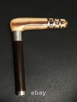 Art Déco Cane Ou Parapluie Poignée Antler Avec Appliqués Argent Sterling