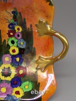 Art Deco Carlton Ware Floral & Lustre Décoré Twin Handled Dish
