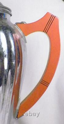 Art Déco Chrome Coffee Set Farber Bros Bakelite Poignées 6 Pièces Percolator