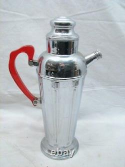 Art Déco Chrome Steel Martini Cocktail Shaker Withred Lucite/bakelite Handle Retro