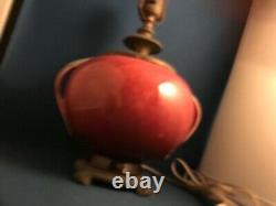 Art Déco Roseville Pottery Orian Sphérique Lampe #274-6 Berry Turquoise Handles