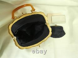 Art Déco Whiting & Davis Cream Metal Mesh Handbag Avec Celluloid Handle Mint