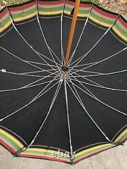 Bakelite Vintage Parapluie Vert Poignée De Pomme Parasol Fabriqué Aux États-unis Testé