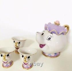 Beauty And The Beast Mugs Tea Pot Cup Set Porcelain Gift 18k Or Plaqué Peint