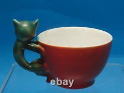 Beyer & Bock C. 1920 Art Déco Cat Handle Cup & Dessert Plate Rare Exquisite