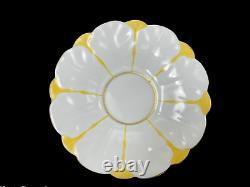 C. 1900 Aynsley Soucoupe De Tasse À Thé Jaune Et Blanc À La Main B1204