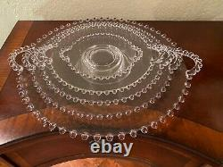 Candlewick Glass Round Handled Trays- Tailles Graduées- Ensemble De 5