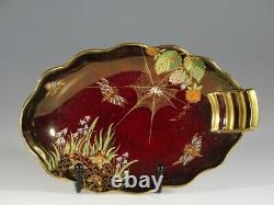Carlton Ware Rouge Royale Spider Web Oval Handled Bowl, Angleterre Vers 1930-40