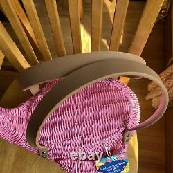 Ciroa Flamingo Grand Picnic Basket Pink Wicker Resin California Bonjour Été T.n.-o.