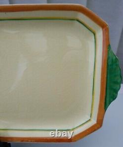 Clarice Cliff Peter Pan Crocus Pattern Rectangle 2 Mains Sandwich Assiette C1932