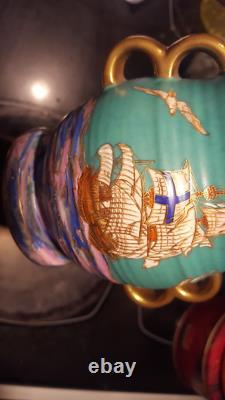 Crown Devon Mattajade Royal George Handled Vase Art Deco M198 Matta Jade Boulton