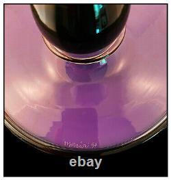 Dante Marioni Original Glass Goose Beak Vase Hand Signed Handle Purple Black Art