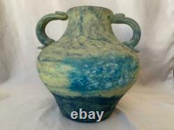 Daum Nancy Bulbous Forme Vase À Deux Manipulés Pate De Verre Verre Antique Glass Art Glass