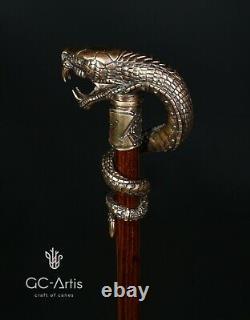 Dragon Snake Bâton De Marche En Laiton De Canne En Bronze Poignée Arbre En Bois À Collectionner