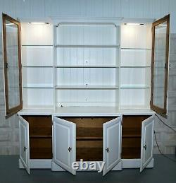 Ducal Breakfront Bookcase Welsh Dresser Lumières De Pin Massif Et Étagères Réglables