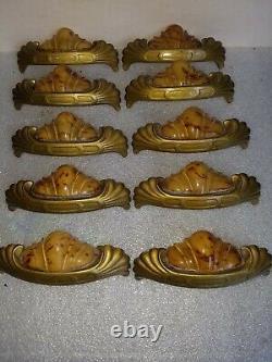 Ensemble De 10 Vtg Années 1930 Art Déco Butterscotch Bakelite Drawer Handles Pulls Antique