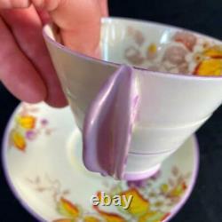 Étoile Des Années 1920 Paragon Angleterre Pansy Flower Handle Blackberry Art Deco Cup Saucer