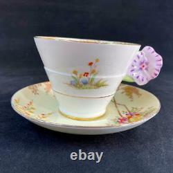Étoile Des Années 1920 Paragon Angleterre Pansy Flower Handle Merrivale Art Deco Cup Saucer