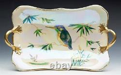 Fine Art Déco Carltonware Lustre King Fisher Twin Handled Dish Vers 1920-1926