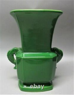 Gorgeous & Rare Rookwood Green Dolphin Handle Art Déco Vase C. 1924 Antique