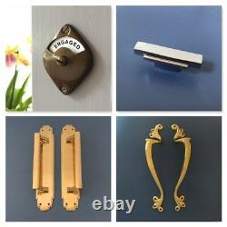 Grand Laiton Art Déco (paires) Poignées De Traction Porte Boutons Plaques Finger Push Grab