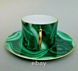 L'objet Malachite Cup & Soucoupe Green Gilded Tea Coffee Porcelain New