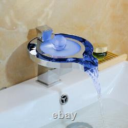 Led Water Power 1 Poignée Waterfall Bathroom Sink Mixer Tap Chrome Basin Robinet