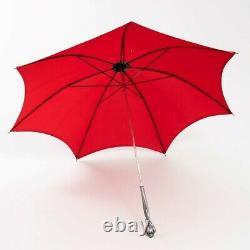 Lord Et Taylor 12 Parapluie Fortuna Parasol Rouge Silk & Silver Poignée 31t X 34w