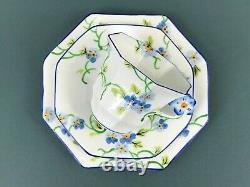 Melba Art Déco Peinture À La Main Bleu Pansy Poignée De Fleur Trio Set Coupe À Thé Assiette Saucer