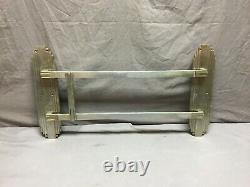 One Antique Art Déco Nickel Brass Door Push Pull Handle Vtg Grab Bar 302-19j
