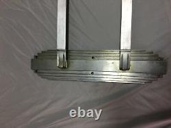 One Antique Art Déco Nickel Brass Door Push Pull Handle Vtg Grab Bar 64-18j