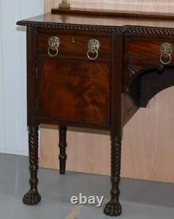 Original 1790 Georgian Irish Mahogany Sideboard With Brass Gallery Lion Handles