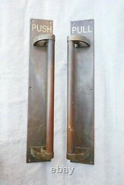Paire Antique Énorme Bronze / Brass Poignées De Porte Art Déco Bâtiment Push Pull 21.5