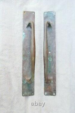Paire Antique Grandes Poignées De Porte En Bronze Shop Tires Art Déco Vieux Bâtiment 18 30s