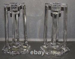 Paire Art Deco Paire Double Poignée Pillar Style Clar Glass Candlesticks Belle