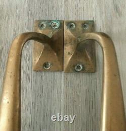 Paire De Poignées De Traction De Porte De Magasin En Laiton De Bronze Art Vintage