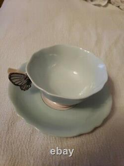 Paragon Pastel Mint Green Art Déco Papillon Manche Os De Chine Tasse À Thé & Soucoupe
