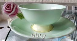 Paragon Pink Rose Handle Bone China Footed Tea Cup Soucoupe Green Vintage No Box