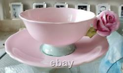 Paragon Pink Rose Handle Bone China Footed Tea Cup Soucoupe Pink Vintage No Box