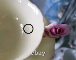 Paragon Pink Rose Handle Bone China Footed Tea Cup Soucoupe Yellow Vintage No Box