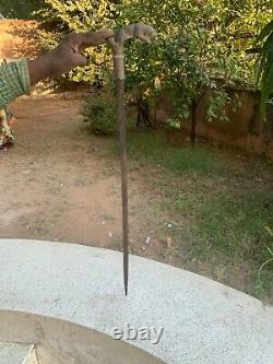 Poignée De Tigre Forgée De Main De Fer Rare Antique Top Shepherd's Sword Walking Stick