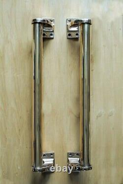 Poignées De Porte En Laiton Art Déco Antique Pair Vintage Door Tire 18 Extra Large