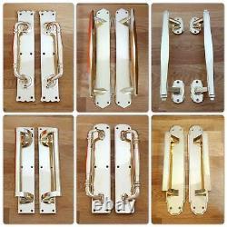 Poignées De Traction Art Déco En Laiton (paires) + Poignées De Plaques Push De Porte À Doigts Grab Large